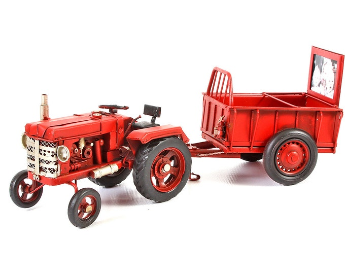 "Sheet model picture frame ""tractor with pendant"" red handmade size about 32.7x10.5 x 26 cm"