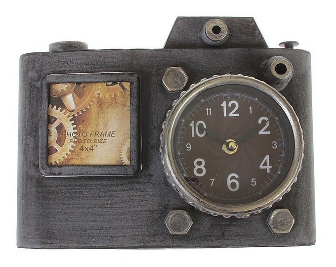 Sheet metal model wall clock with picture frame camera grey size approx. 31.5 x 24 cm