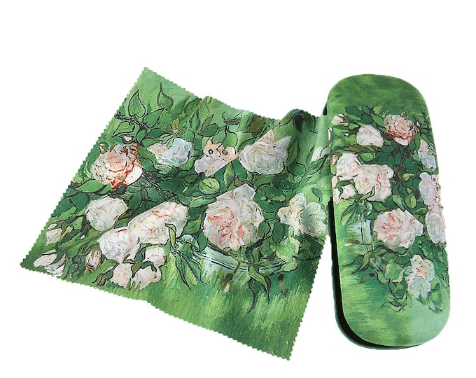 "Eyeglass case set Vincent Van Gogh ""Pink Roses"" covered with velour"