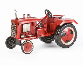 Sheet metal model tractor red Handmade unique size approx. 18x11x11 cm