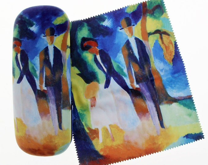 """Eyeglass case set August Macke """"People at the blue lake"""" covered with velour (micro fiber)"""