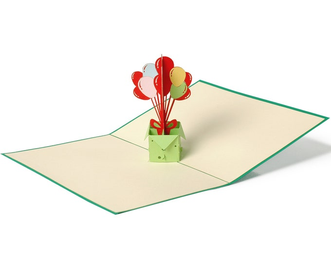 3D Pop Up Folding Card with Envelope Birthday Card Balloons also to use as a coupon or for a money gift