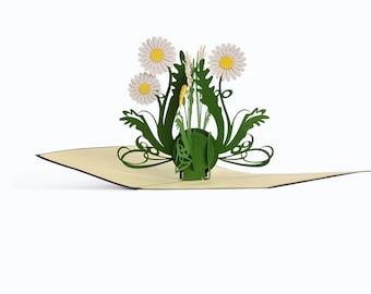 3D Pop Up folding card with envelope wildflowers also to use as a voucher or for a money gift