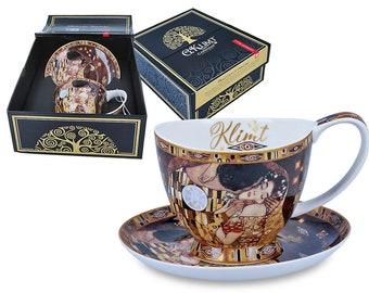"CARMANI elegant cup with saucer porcelain Gustav Klimt ""The kiss"" incl. decorative gift box"