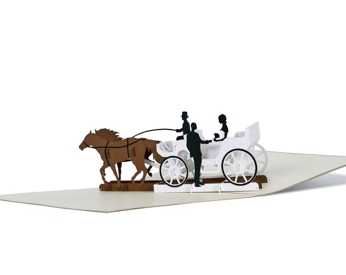3D Pop Up folding card with envelope wedding carriage also to use as a voucher or for a money gift