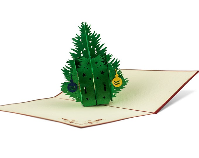 3D Pop Up Folding Card with Envelope Christmas Card Christmas Tree Also to use as a voucher or for a money gift