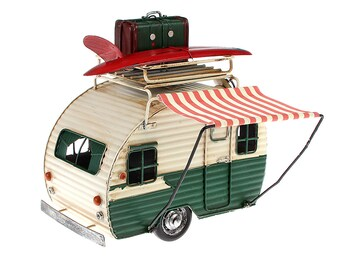 Tin model picture frame and money box camping trailer cream/green size approx. 23x19x13.5 cm