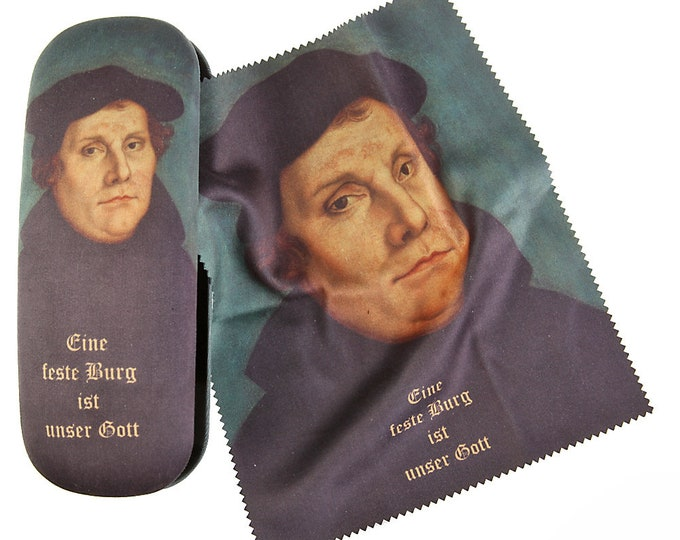 """Eyeglass case set """"Martin Luther"""" covered with velour (micro fiber)"""
