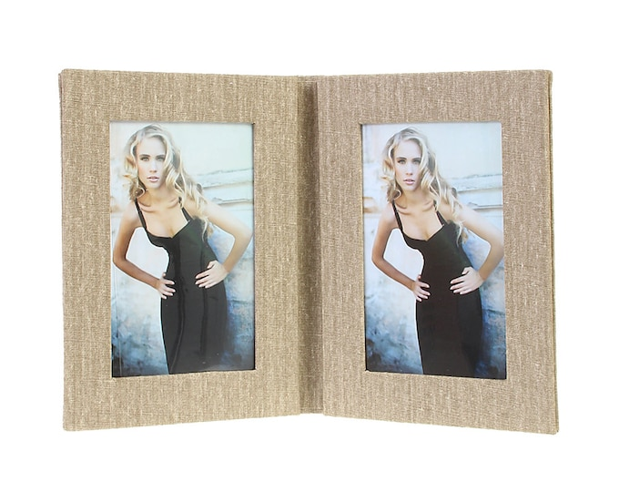 Double picture frame folder canvas for 2 pictures in approx. 13 x 18 cm linen cover. No glass size approx. 22 x 35 cm for setting up (beige)