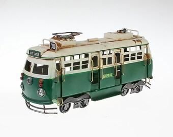 Sheet metal model tram green size approx. 32x11x15 cm
