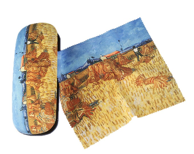 "Eyeglass case set Vincent Van Gogh ""Harvest in Provence"" covered with velour"