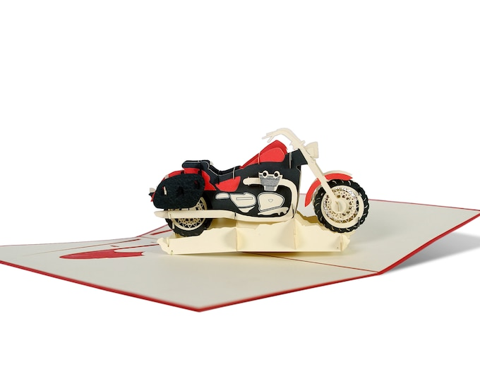 3D Pop Up folding card with envelope motorcycle also to use as a coupon or for a money gift