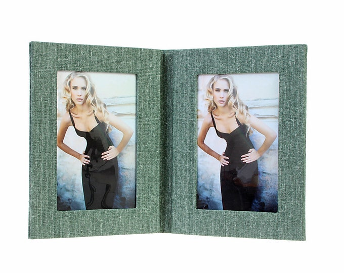 Double picture frame folder canvas for 2 pictures in approx. 13 x 18 cm linen cover. No glass size approx. 22 x 35 cm for setting up (green)