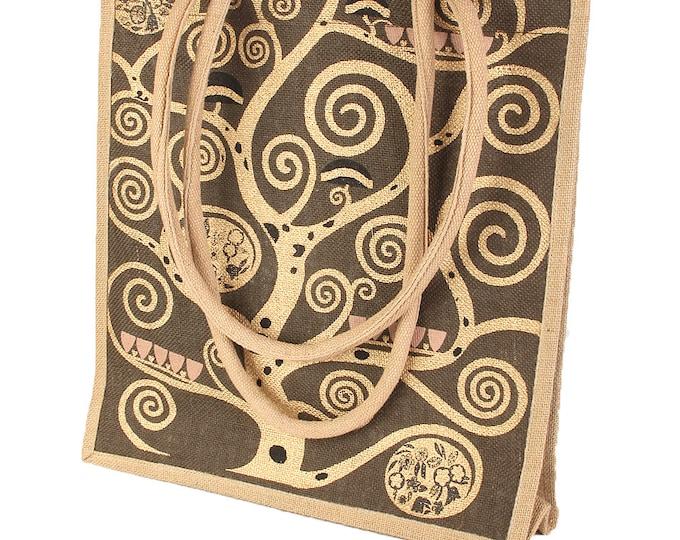 """Handbag shoulder bag shopping bag art bag jute bag Gustav Klimt """"life tree"""" hand stitched & hand printed"""