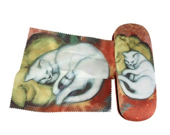 "Glasses case Franz Marc ""White cat"" covered with velour"