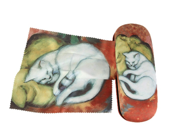 "Eyeglass case set Franz Marc ""White Cat"" covered with velour"