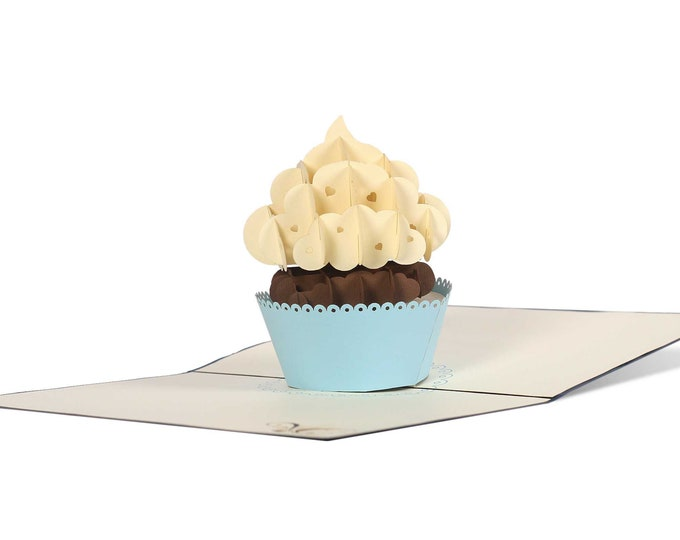 3D Pop Up Folding Card with Envelope Cupcake also to use as a coupon or for a money gift