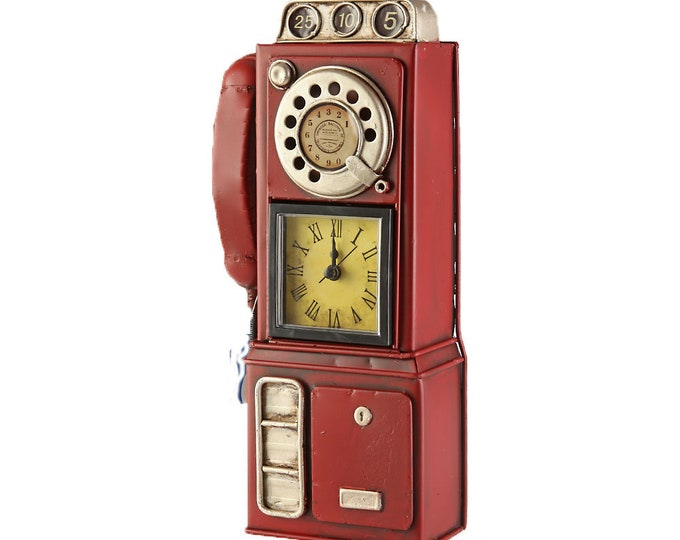 Table clock stand clock Coin-operated red size approx. 14x6x29 cm