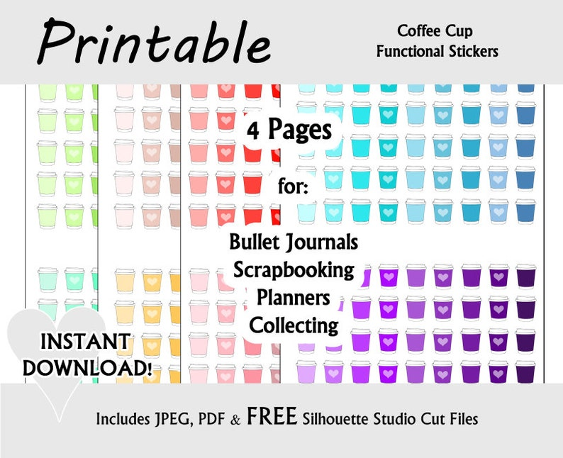 Colorful Coffee Pots Printable Stickers / Coffee & Tea Functional  Decorative Stickers for Planners, Bullet Journals and Scrapbooking