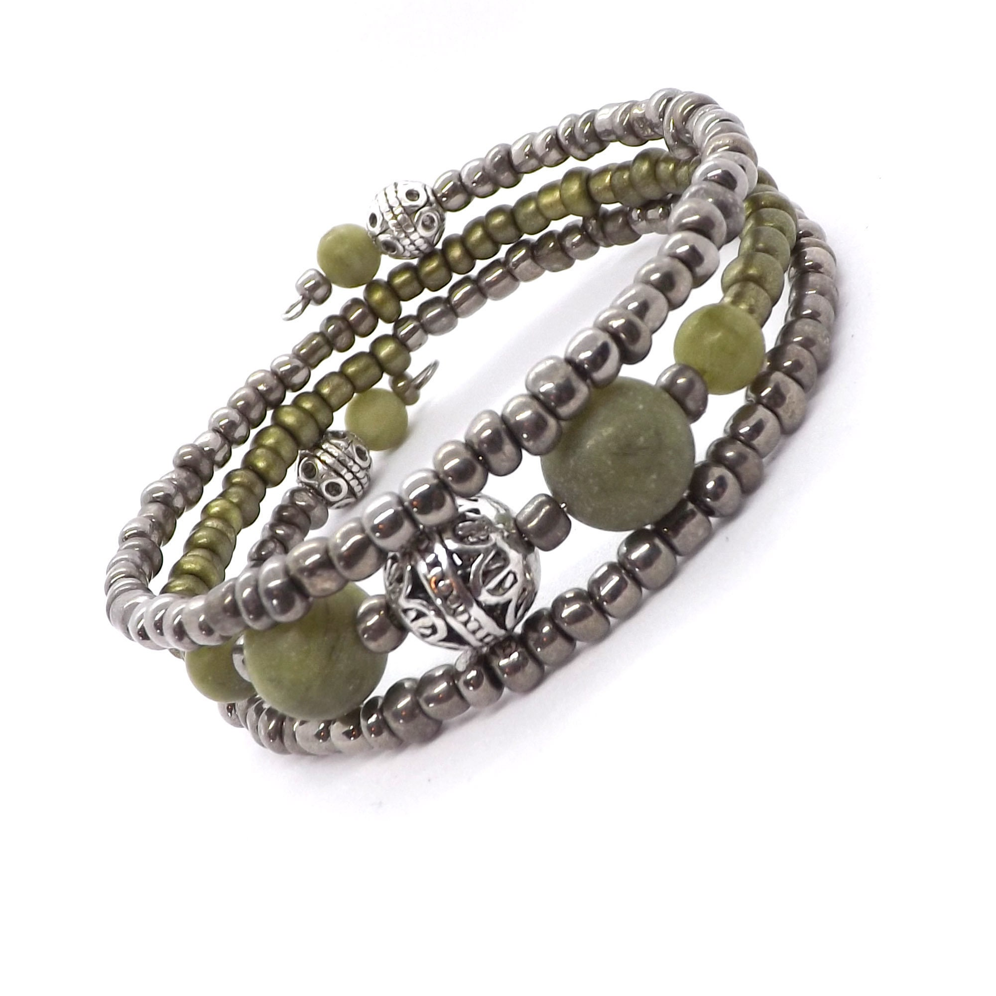 Elegant silver forged simple contemporary dainty bracelet with a boho twist handmade everyday jewelry .Green Phrenite and garnet gemstones