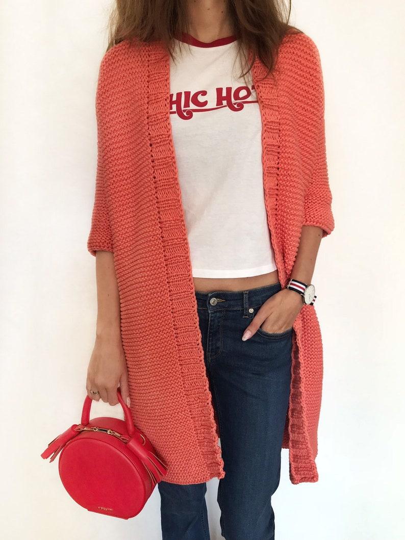 Cotton coral cardigan with 34 sleeves soft orange jacket midi length