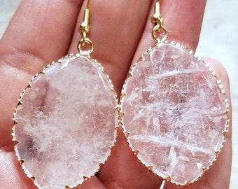 Clear Quartz Earrings, Gold Earrings, Big Earrings, Gemstone Earrings, Boho Earrings, Clear Quartz, Large Earrings, Gemstone  Jewelry
