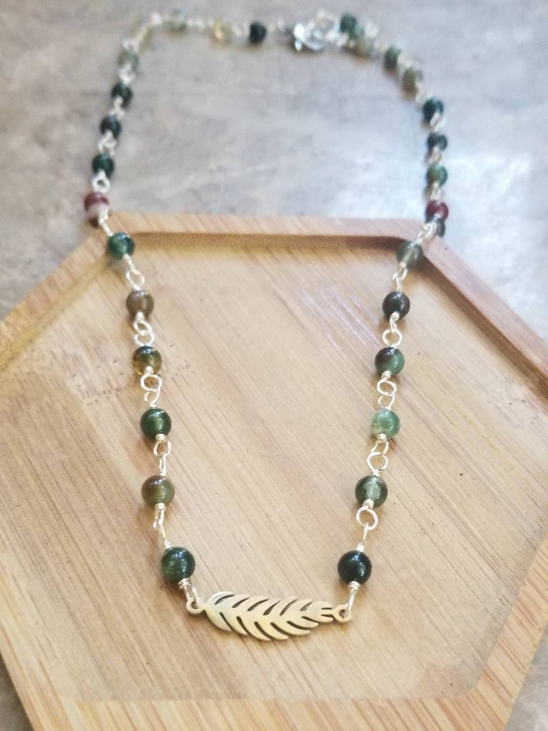 Leaf Plant Silver Necklace Gemstone Necklace Gold Necklace Indian Agate Choker Plant Jewelry Indian Agate Necklace