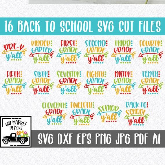 Back To School Y All Svg Bundle 16 Svg Cut Files Clip Etsy