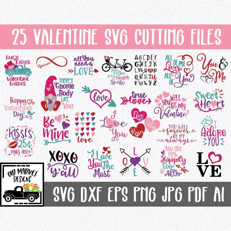Valentines Day Svg Bundle 25 Valentine Svg Cut Files Clip Etsy