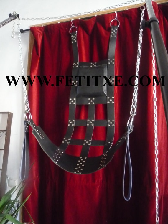 Excellent Quality Play Room Adult Red Leather Sling Swing V4