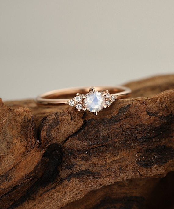 Moonstone Engagement Ring Rose Gold Diamond Cluster Engagement Etsy