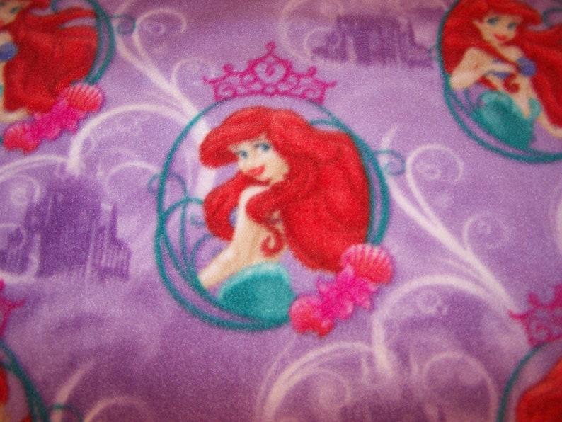 Disney MERMAID ARIEL Castles Sebastian Flounder Purple FLEECE