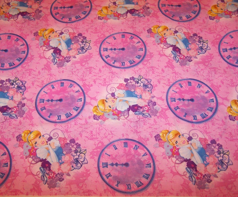 Disney Princess CINDERELLA and Other Story Items PINK yardage Cotton