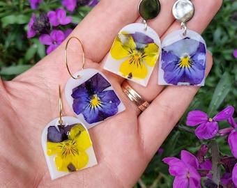 Viola Pansy Real Flower Earrings
