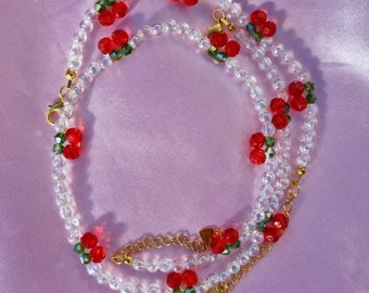 Beaded Cherry Necklace and Bracelet