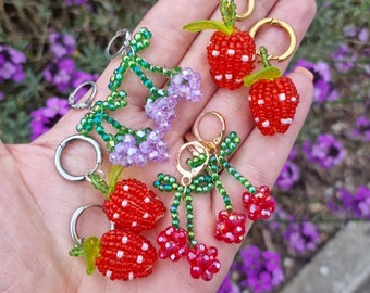 Beaded Cherry Strawberry Grape Earrings