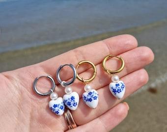 Ceramic Porcelain Huggie Hoop Earrings
