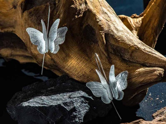 Hammered Butterfly Wing Earrings Studs Sterling Silver Luna Moth Luna Moth Real Bridal Boho Little Everyday Unique Jewelry 925