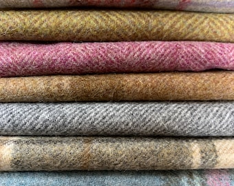 Wool fabric offcuts remnants ideal for patchwork quilting or crafts.