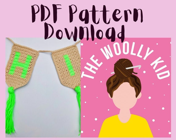 Modern wall hanging crochet pattern of full alphabet