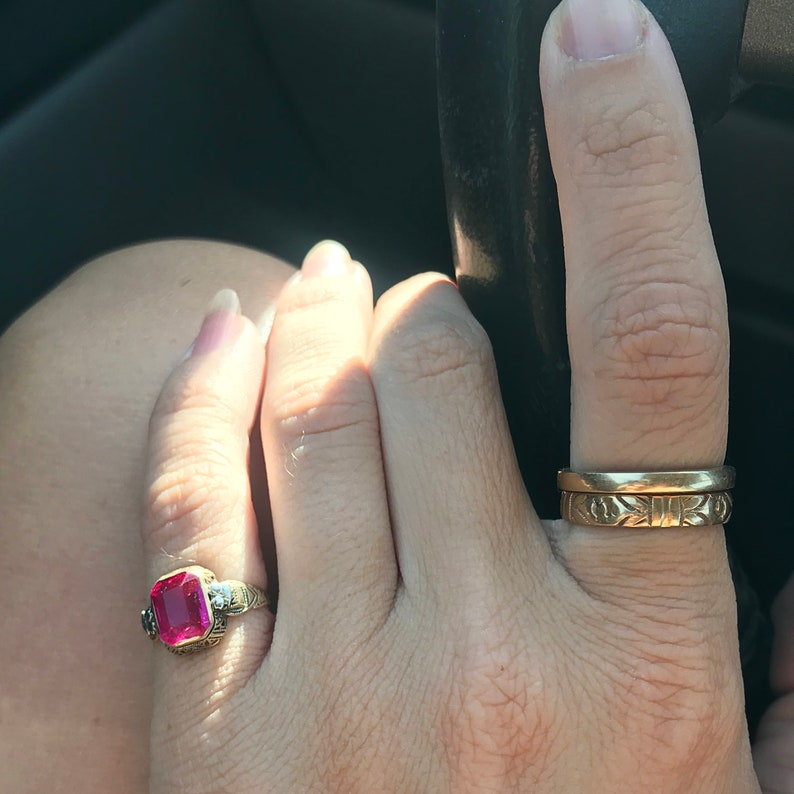 Art Deco Engraved Antique Art Deco 10k Yellow Gold Lab Pink Topaz Filigree Ring w White Gold Floral Accent Size 3.5