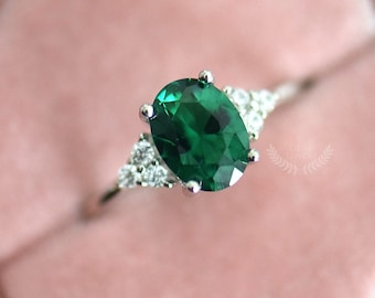 LAST SIZES! Emerald Ring, Oval Emerald Engagement Ring, White Gold, Sterling Silver, Emerald and Diamond Ring, May Birthstone Ring
