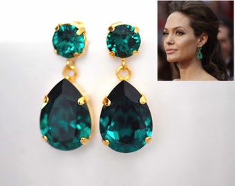 c036bce7108bc Emerald drop earring   Etsy
