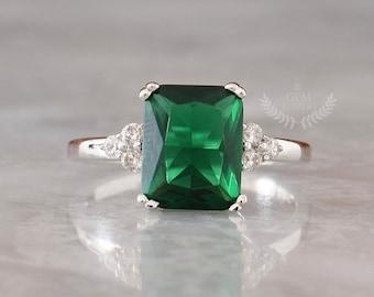 LAST SIZES! Emerald Cut Emerald Engagement Ring, Emerald & Diamond Ring, Three Stone Ring, Promise Ring, Green Gemstone Ring, May Birthstone