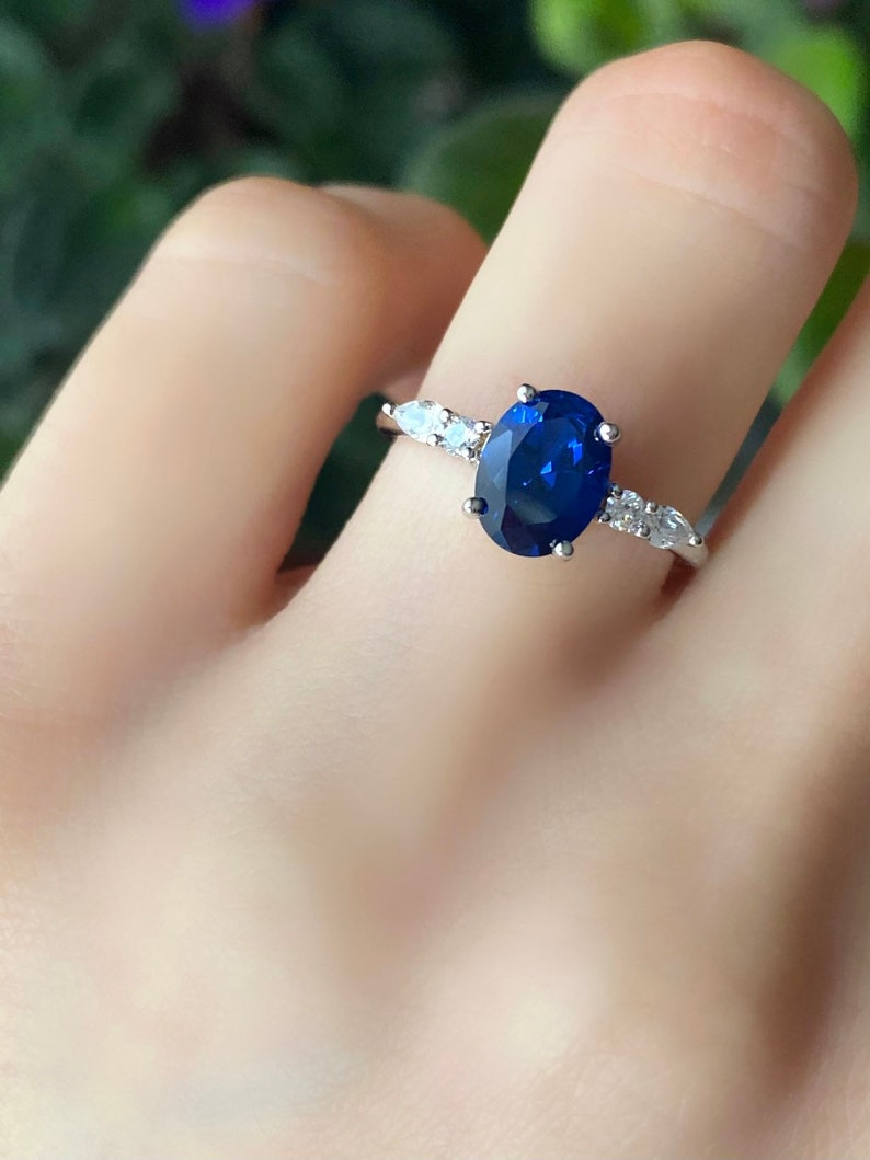 Sapphire and Diamond Ring Oval Blue Sapphire Engagement Ring Sterling Silver Sapphire Ring September Birthstone Ring BLUE SAPPHIRE Ring