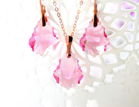 433824fcd8a3b Swarovski Crystal Necklace Pink Blush Jewelry Set Vintage