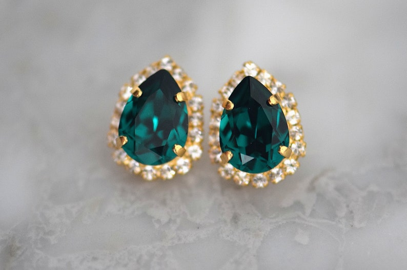 Crystal Wedding Necklace Emerald Jewelry Set Bridesmaid Gift,Rhinestone Jewelry Vintage Style Bridal Earrings Crystal Bridal Jewelry Set