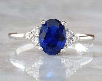 LAST SIZES! Blue Sapphire Engagement Ring, Oval Blue Sapphire Ring, Sapphire Diamond Ring, Sapphire Silver Ring, September Birthstone