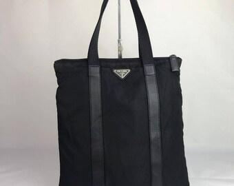 735459f2d4ad Authentic Prada Nylon Black Tote Bag