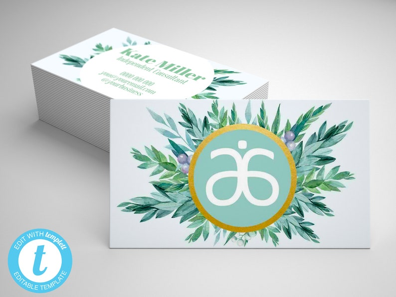 Arbonne Business Card Template Editable Arbonne Business Card Green Arbonne Card Arbonne Marketing Materials
